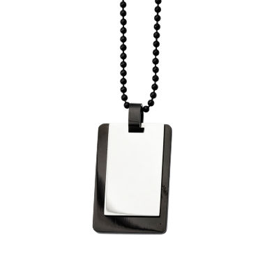 jcpenney.com | Mens Stainless Steel Black Ion-Plated Dog Tag Pendant