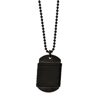 jcpenney.com | Mens Stainless Steel & Leather Dog Tag Pendant