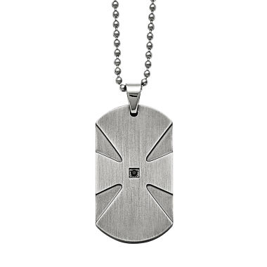 jcpenney.com | Mens Color Enhanced Black Diamond Accent Stainless Steel Dog Tag Pendant