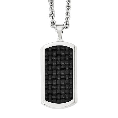 jcpenney.com | Mens Stainless Steel  Leather Inlay Dog Tag Pendant