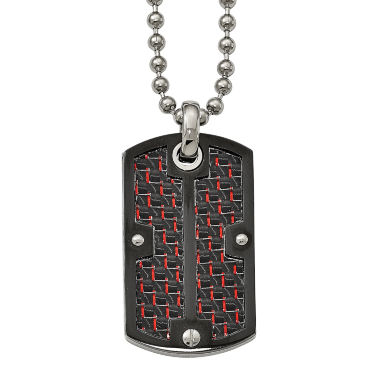 jcpenney.com | Mens Stainless Steel Black & Red Carbon Fiber Dog Tag Pendant