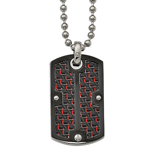 Mens Stainless Steel Black & Red Carbon Fiber Dog Tag Pendant