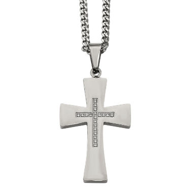 jcpenney.com | Mens Cubic Zirconia Stainless Steel Cross Pendant