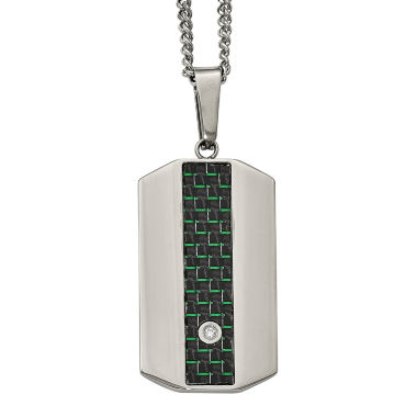 jcpenney.com | Mens Cubic Zirconia Stainless Steel Black & Green Carbon Fiber Dog Tag Pendant