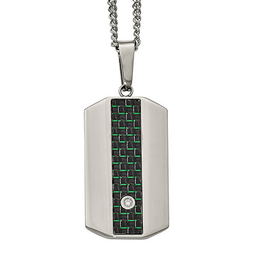 Mens Cubic Zirconia Stainless Steel Black & Green Carbon Fiber Dog Tag Pendant