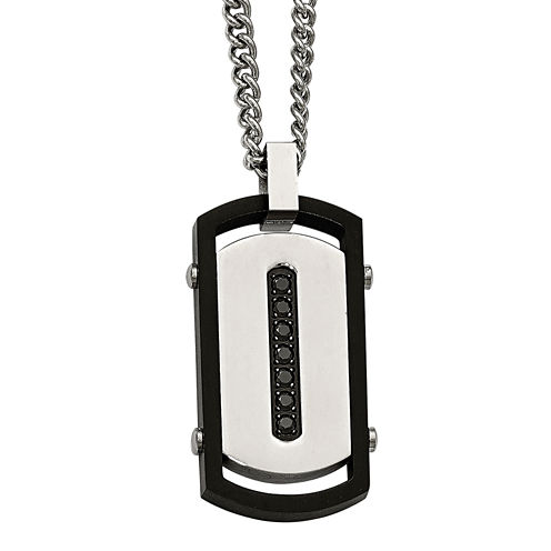 Mens Black Cubic Zirconia Stainless Steel & Black Ip Rim Dog Tag Pendant