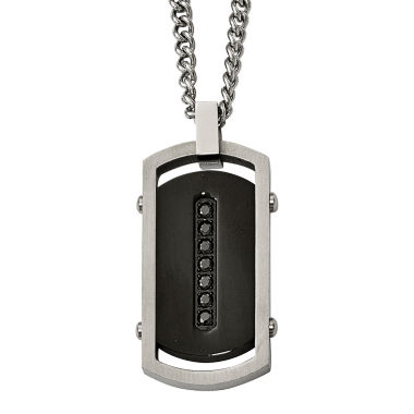 jcpenney.com | Mens Black Cubic Zirconia Stainless Steel & Black Ip Center Dog Tag Pendant