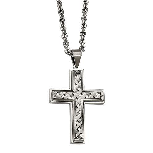 Mens Stainless Steel Woven Pattern Cross Pendant