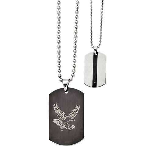Mens Stainless Steel Reversible Eagle Dog Tag Pendant