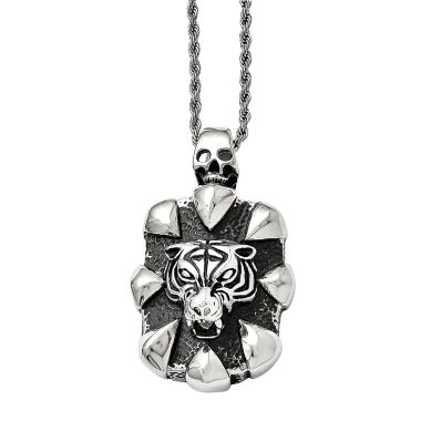 jcpenney.com | Mens Stainless Steel Antiqued Skull & Tiger Pendant