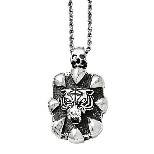 Mens Stainless Steel Antiqued Skull & Tiger Pendant