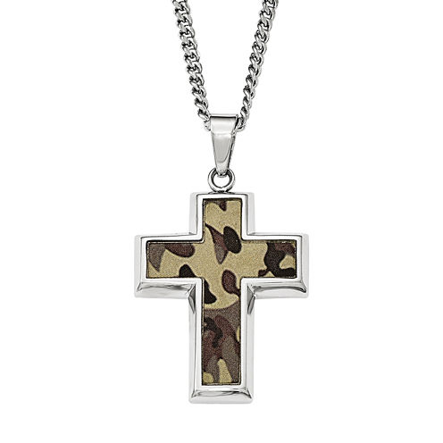Mens Stainless Steel Brown Camouflage Cross Pendant