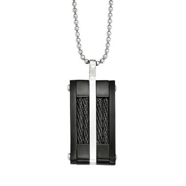 jcpenney.com | Mens Stainless Steel & Black Ion-Plated Pendant