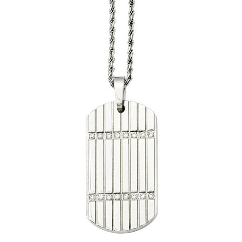 Mens Cubic Zirconia Stainless Steel Dog Tag Pendant