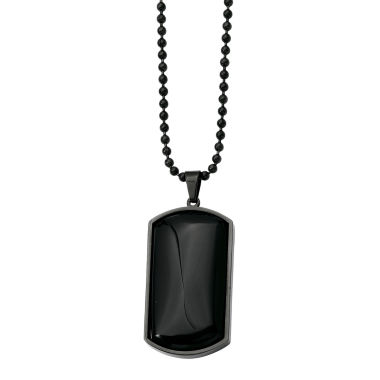 jcpenney.com | Mens Black Agate Stainless Steel Dog Tag Pendant