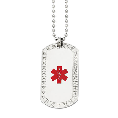 Mens Cubic Zirconia Stainless Steel Medical Dog Tag Pendant