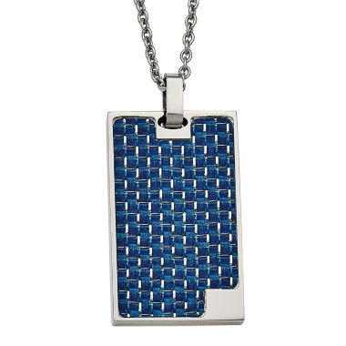 jcpenney.com | Mens Stainless Steel Blue Carbon Fiber Dog Tag Pendant