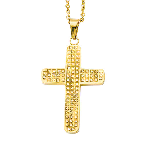 Mens Cubic Zirconia Stainless Steel Yellow IP-Plated Cross Pendant