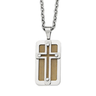 jcpenney.com | Mens Stainless Steel Yellow Ion-Plated Cross Pendant