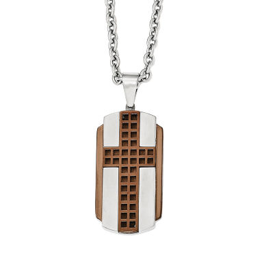 jcpenney.com | Mens Stainless Steel Brown Ion-Plated Cross Pendant