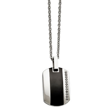 jcpenney.com | Mens Cubic Zirconia Stainless Steel & Black Ceramic Inlay Pendant