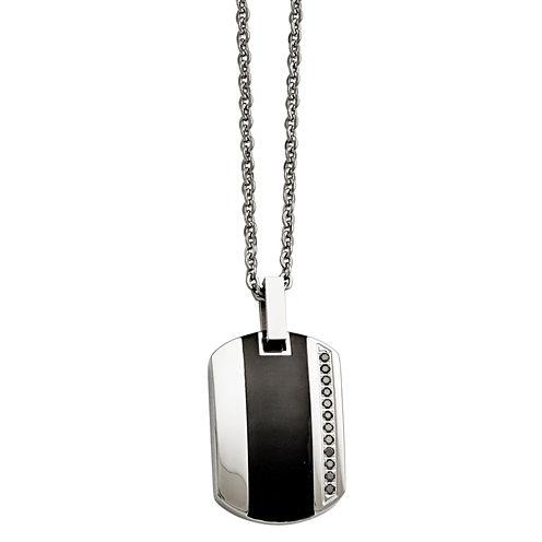 Mens Cubic Zirconia Stainless Steel & Black Ceramic Inlay Pendant