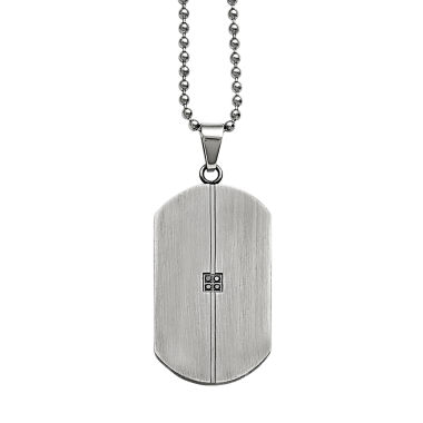 jcpenney.com | Mens Diamond Accent Stainless Steel Dog Tag Pendant