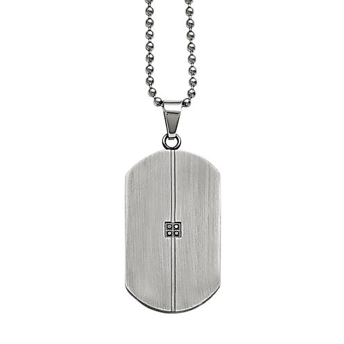 Mens Diamond Accent Stainless Steel Dog Tag Pendant