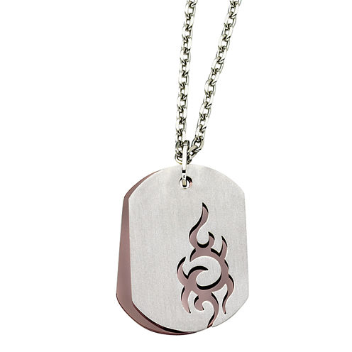 Mens Stainless Steel Brown Ion-Plated Dog Tag Pendant