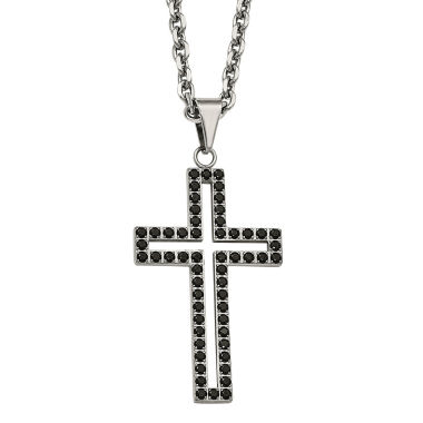 jcpenney.com | Mens Black Cubic Zirconia Stainless Steel Cross Pendant