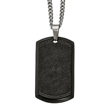 jcpenney.com | Mens Cubic Zirconia Stainless Steel Black Ion-Plated Cross Dog Tag Pendant