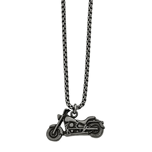 Mens Stainless Steel Antiqued Motorcycle Pendant