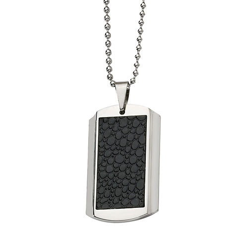 Mens Stainless Steel Stingray Leather Patterned Dog Tag Pendant