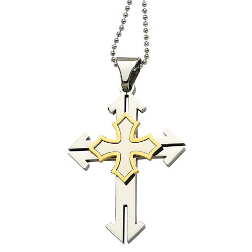 Mens Stainless Steel Gold Ion-Plated Cross Pendant