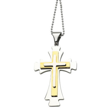 jcpenney.com | Mens Stainless Steel Gold Ion-Plated Cross Pendant