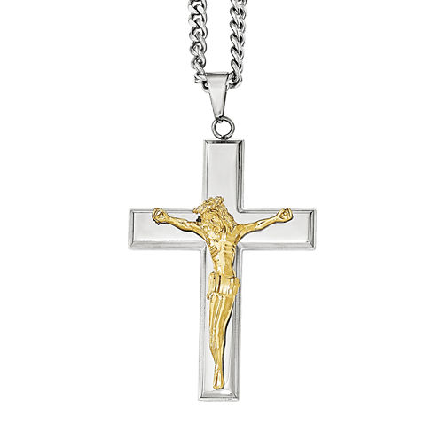 Mens Stainless Steel Cross with Yellow Ion-Plated Crucifix Pendant