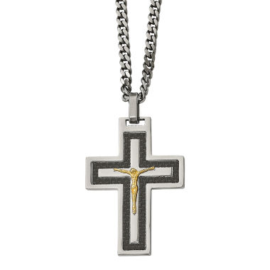 jcpenney.com | Mens Cubic Zirconia Stainless Steel Reverse Crucifix Pendant