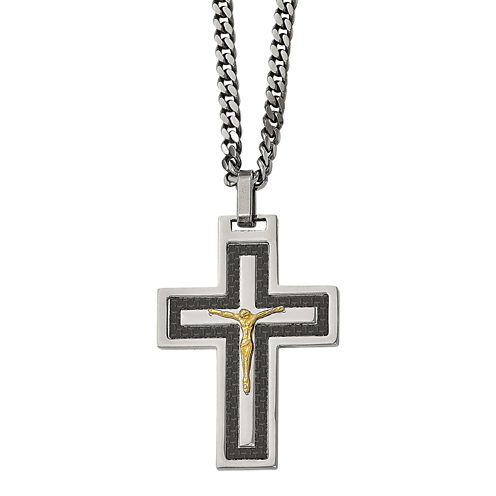 Mens Cubic Zirconia Stainless Steel Reverse Crucifix Pendant