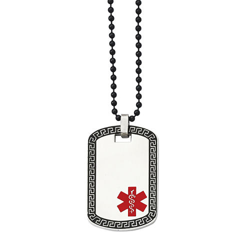Mens Stainless Steel Medical Dog Tag Pendant
