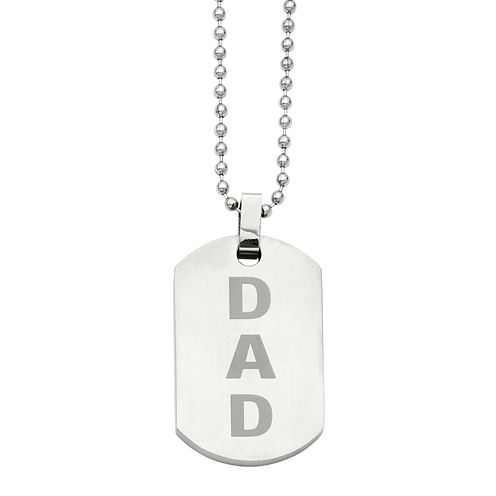 Mens Stainless Steel Enamel Dad Dog Tag Pendant