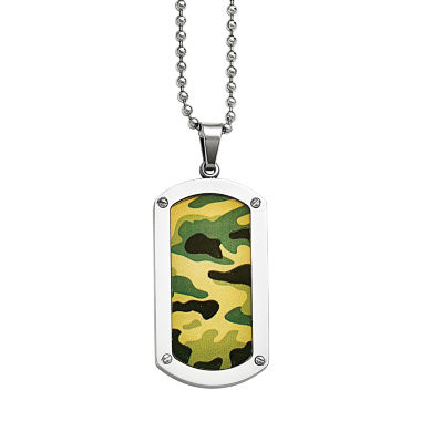jcpenney.com | Mens Stainless Steel Camoflage Dog Tag Pendant
