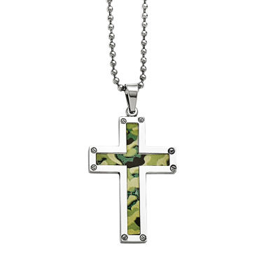 jcpenney.com | Mens Stainless Steel Camoflage Cross Pendant