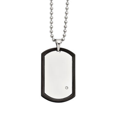 jcpenney.com | Mens Cubic Zirconia Stainless Steel Black Ion-Plated Dog Tag Pendant
