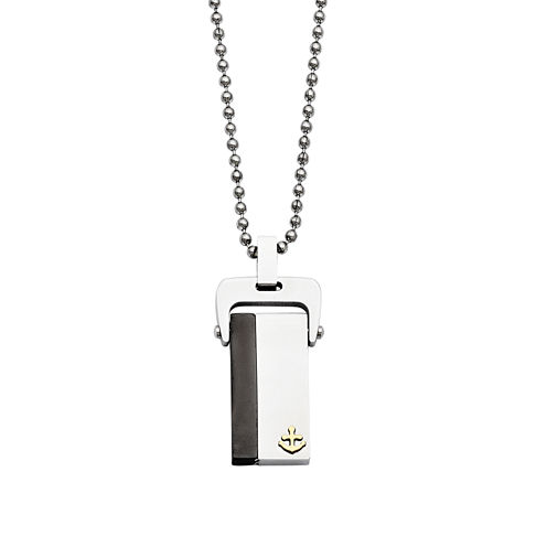 Mens Stainless Steel Yellow & Black Ion-Plated Dog Tag Pendant