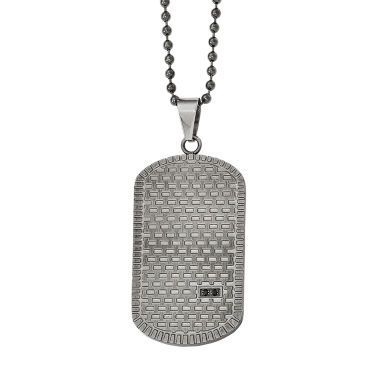 jcpenney.com | Mens Black Cubic Zirconia Stainless Steel Pendant Necklace