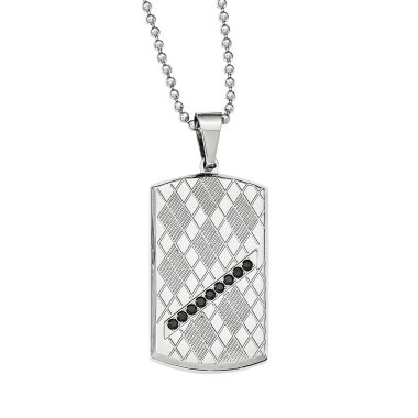 jcpenney.com | Mens Black Cubic Zirconia Stainless Steel Dog Tag Pendant