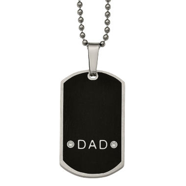 jcpenney.com | Mens Cubic Zirconia Stainless Steel Dad Dog Tag Pendant