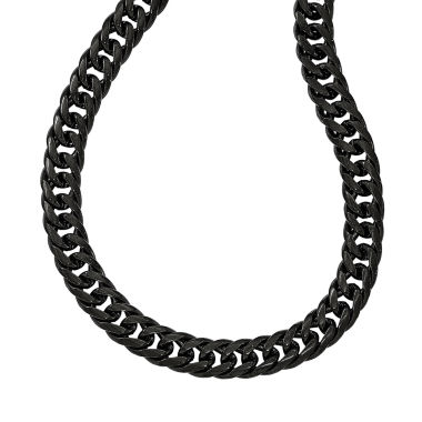 jcpenney.com | Mens Stainless Steel Black Ip-Plated Double Curb Chain Necklace