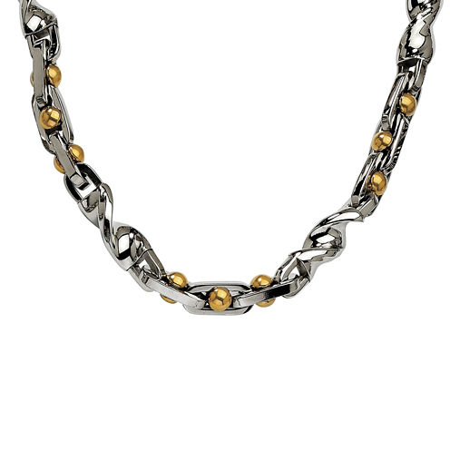 Mens Stainless Steel Yellow Ip-Plated Chain Necklace