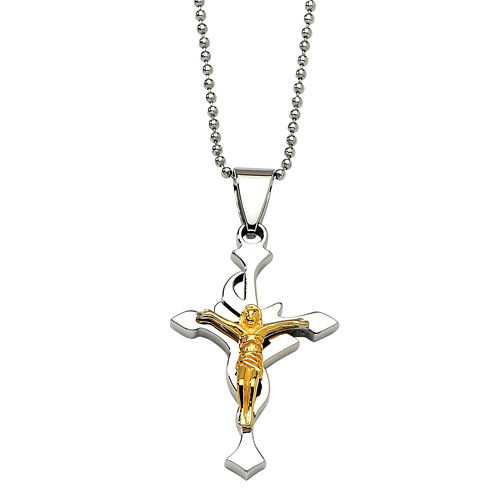 Mens Stainless Steel Yellow Ip-Plated Crucifix Pendant